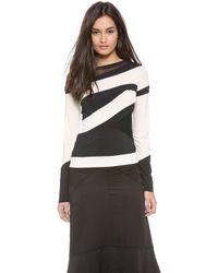 Donna Karan New York Striped Long Sleeve Top - Lyst