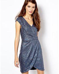 Oasis Sequin Wrap Dress - Lyst