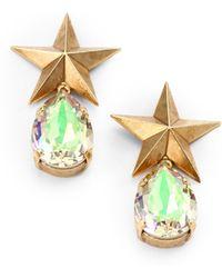 Janis Savitt - Crystal Star Teardrop Earrings - Lyst