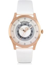 John Galliano - White Dial and White Leather Strap Womens Watch - Lyst