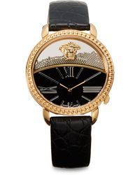 Versace Rose Goldfinished Black Leather Strap Watch - Lyst