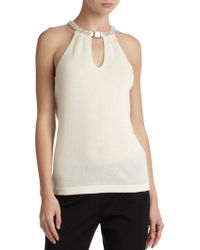 Saks Fifth Avenue Black - Embellished Cashmere Halter Top - Lyst