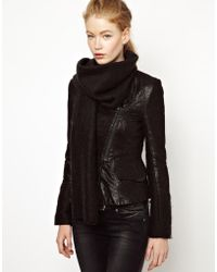 ELEVEN PARIS - Teather Leather Blazer with Mohair Scarf - Lyst