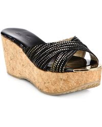 Jimmy Choo Prima Metallic Suede Cork Wedge Sandals - Lyst