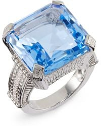 Judith Ripka Faceted Square Stone Sterling Silver Ring - Lyst