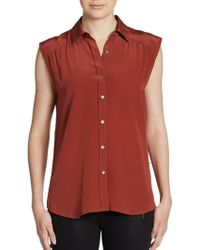 MiH Jeans Silk Sleeveless Buttonfront Blouse - Lyst
