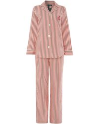 Lauren by Ralph Lauren - Glen Ridge Brushed Twill Stripe Pj Set - Lyst