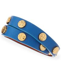 Tory Burch Logostudded Leather Wrap Bracelet - Lyst