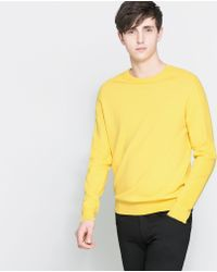 Zara Yellow Structured Sweater - Lyst