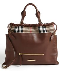 Burberry 'Big Crush - House Check' Leather Tote - Lyst