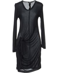 Damir Doma Long Sleeve Round Collar Black Short Dress - Lyst