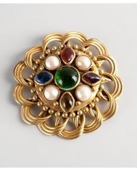 Chanel Gold Jewel and Faux Pearl Coiled Vintage Pin - Lyst