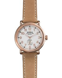 Shinola The Runwell Rose Golden Watch with Taupe Strap 41mm - Lyst