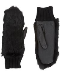 Barneys New York Fur Cashmere Mittens - Lyst