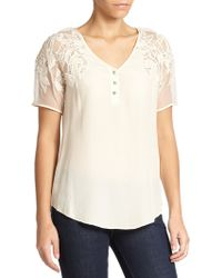 Beyond Vintage Silk Lace Henley Top - Lyst
