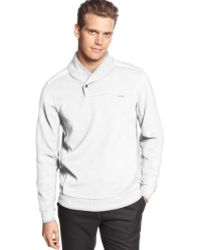 Calvin Klein Long Sleeve Cable Shawl Collar Shirt - Lyst