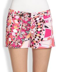 Emilio Pucci Printed Stretch Twill Shorts - Lyst