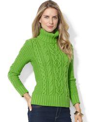 Lauren by Ralph Lauren - Lauren Jeans Co Cableknit Turtleneck Sweater - Lyst
