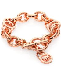 Michael Kors Padlock Toggle Bracelet/Rose Goldtone - Lyst