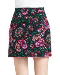 Nanette Lepore Blossom Cotton Silk Printed Faux Wrap Skirt - Lyst