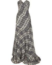 Oscar de la Renta Plaid-print Pleated Silk-chiffon Gown - Lyst
