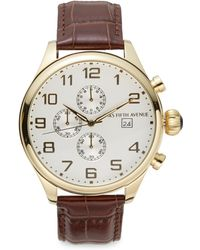 Saks Fifth Avenue - Goldtone Stainless Steel & Leather Strap Chronograph Watch - Lyst
