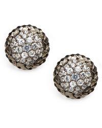 Slane - White Sapphire Sterling Silver Button Earrings - Lyst