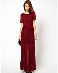 Asos Mesh and Lace Maxi - Lyst