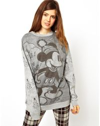 Asos Sweatshirt in Monochrome Mickey Mouse Holidays Print - Lyst