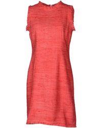 Charlott Sleeveless Round Collar Red Short Dress - Lyst