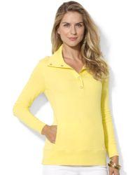 Lauren by Ralph Lauren Long Sleeve Button Collar Top - Lyst