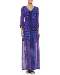 Nanette Lepore Sheer Sleeve Skirt Dress Violet Multicolor - Lyst