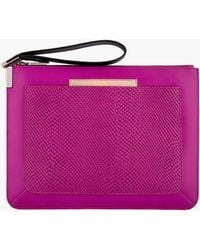 Time's Arrow | Magenta Leather Snakeskin-Embossed Ishi Wristlet Clutch | Lyst