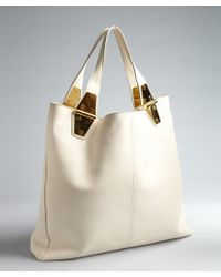 Tom Ford Ivory Leather Natasha Large Hinged Tote Bag - Lyst