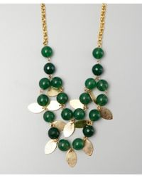 Wendy Mink | Gold and Green Bead Leaf Drop Necklace | Lyst