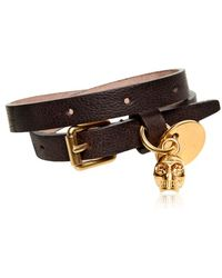 Alexander McQueen Leather and Skull Bracelet - Lyst