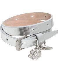 Alexander McQueen Glow Web Leather Swaroski Skull Bracelet - Lyst