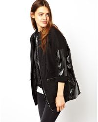 Asos Jacket in Oil Slick Texture with Pu Trims - Lyst