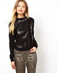 Asos Jumper with Metallic Leather Look Front and Embellished Neck - Lyst