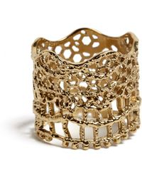 Aurelie Bidermann Dipped Yellow Gold Laser Cut Lace Ring - Lyst