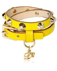 DSquared² Double Wrap Studded Leather Bracelet - Lyst