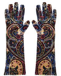 Etro - Paisley Print Elasticized Velvet Gloves - Lyst