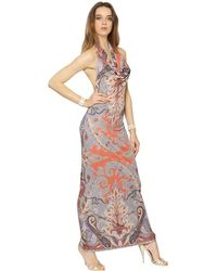 Etro Printed Viscose Jersey Long Dress - Lyst