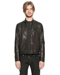 Giorgio Armani Nappa Leather Biker Jacket - Lyst