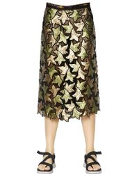 Marc Jacobs Sequin Embroidered Cotton Guipure Skirt - Lyst