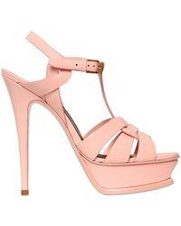 Saint Laurent 140Mm Tribute Patent Leather Sandals - Lyst