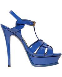 Saint Laurent 140Mm Tribute Patent Leather Sandals blue - Lyst