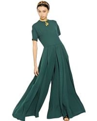 Valentino Short Sleeved Silk Jumpsuit - Lyst