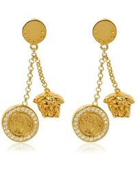 Versace Clip On Medusa Pendent Earrings - Lyst