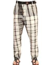 Vivienne Westwood 19cm Checked Linen Trousers - Lyst